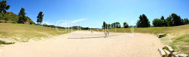 the panorama of ancient olympia stadium, peloponnes, greece