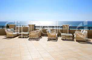 sea view relaxation area of luxury hotel, peloponnes, greece