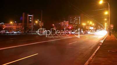 timelapse traffic of the city at night. Blurred motion