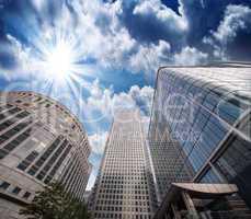 Group of Modern Buildings in London Financial District, beautifu