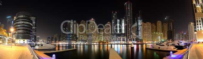 dubai, uae - september 8: the night illumination of dubai marina