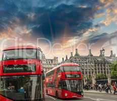 LONDON - SEP 28: Classic red double decker bus in city streets,