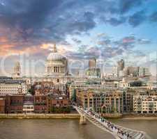 London. Beautiful aerial view of Millennium Bridge and St Paul C