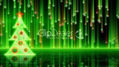 futuristic christmas tree and snowfall loop