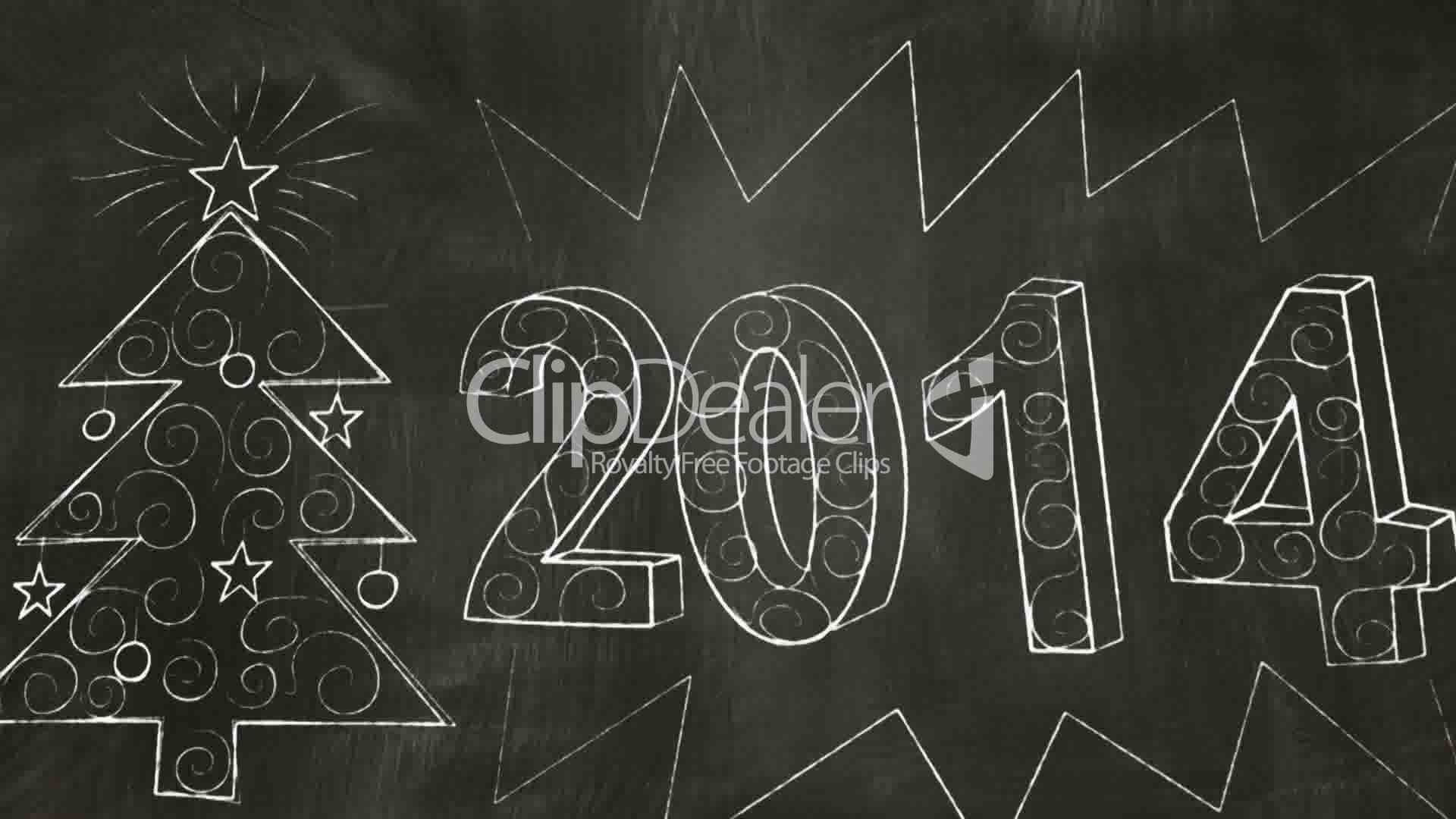 Drawing 2014 New Year Greetings On Blackboard Royalty Free Video