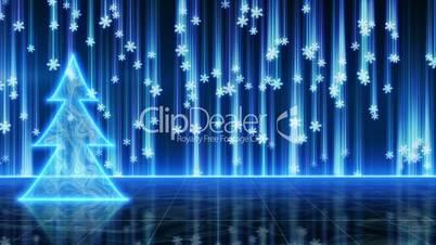 futuristic blue christmas tree and snowfall loop