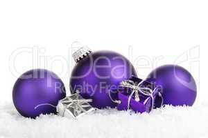 Weihnachtskugeln lila mit Geschenken
