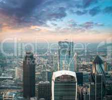 London. Stunning aerial view of modern financial district skylin