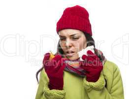 Sick Mixed Race Woman with Empty Medicine Bottles Blowing Nose .