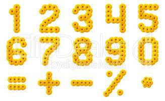 Numerals Alphabet of yellow flowers