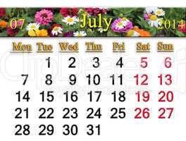calendar for the july of 2014 with flowers