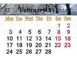 calendar for the february of 2014