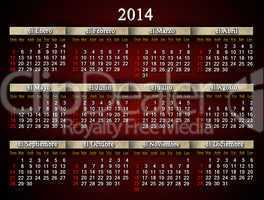 beautiful claret calendar for 2014 year in spanish