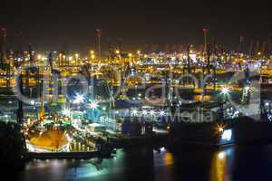 port of hamburg at night from above