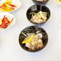 Buffet of fish and shellfish finger food