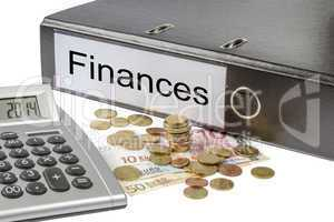 finances binder calculator and currency