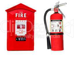 fire extinguisher and alarm box isolated