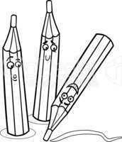 crayons cartoon illustration coloring page
