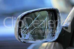 damaged rearview mirror on a car