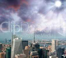 New York City. Aerial view of Manhattan skyline with midtown bui