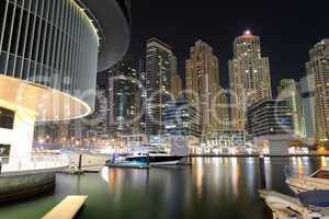 dubai, uae - september 11: the night illumination of dubai marin