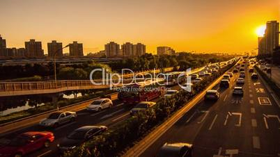 Motion View of Tonghui River freeway,sunset,Beijing,China