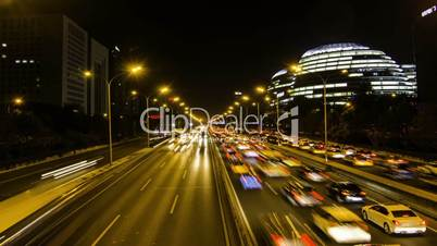 different view of Chaoyangmen highway traffic at night,Beijing,China