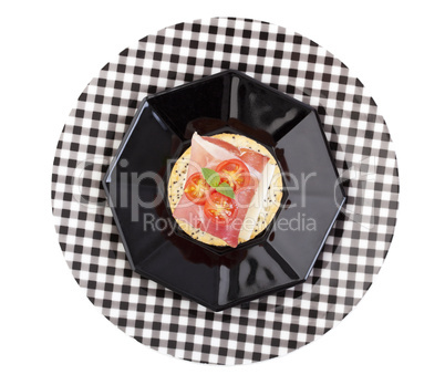 proscuitto and provolone canape with clipping path
