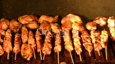 Chicken on barbecue grill