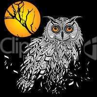 owl bird head as halloween symbol for mascot or emblem design, such a logo.