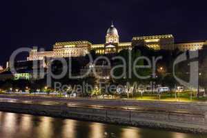 royal palace of buda, budapest  illuminated, night view, budapes