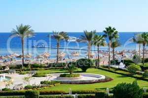 motor yacht and beach at the luxury hotel, sharm el sheikh, egyp