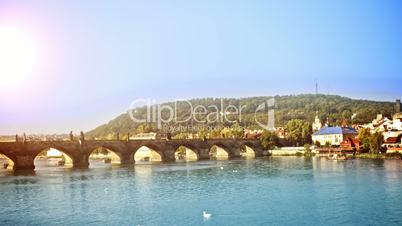 Charles Bridge. Czech Republic. Time Lapse.