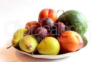 still life from the watermelon, pears, pluma and nectarine