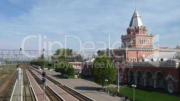 beautiful architecture a building of train station in chernigov