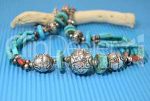 Silver necklace with turquoise