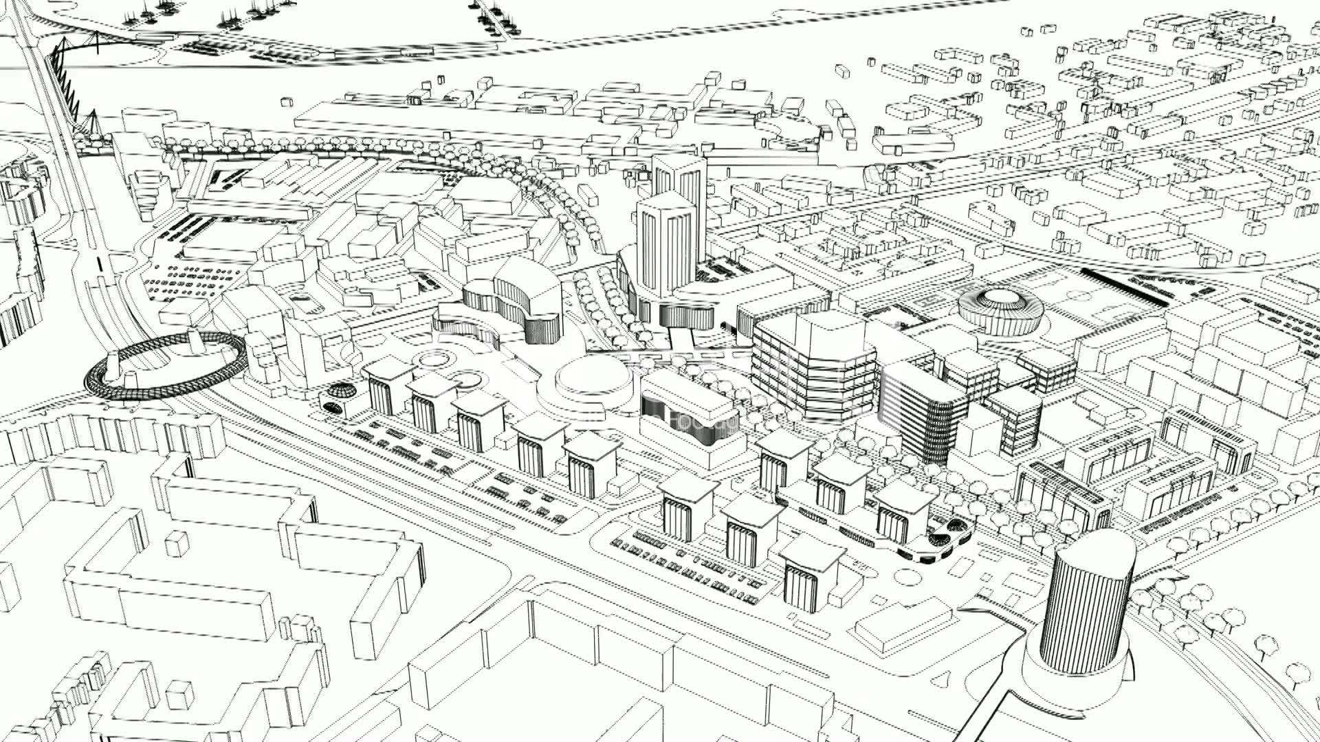 loopable aerial view of city wire model: Lizenzfreie Stock Videos ...