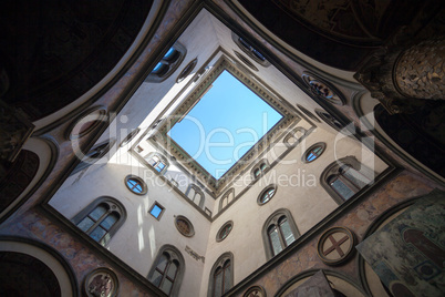 internal court yard sky view of palazzo vecchio in florence