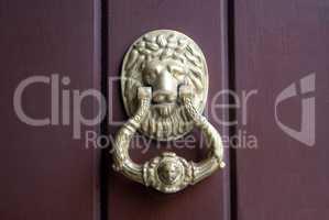 Old brass knocker on wooden door