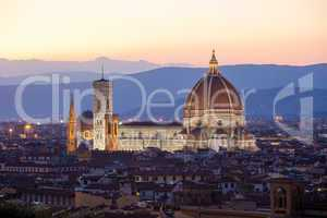 sunst view of cathedral santa maria del fiore, florence
