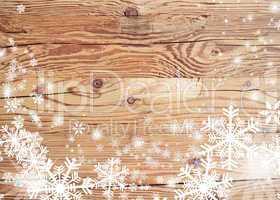 altes Holz  mit Schneeflocken