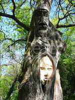 sculpture of personage cut out from a tree