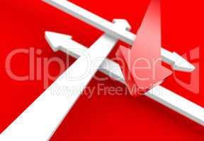 Pfeilkonzept Vier Richtungen - Rot Weiß