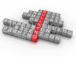 word cloud bullying concept, 3d imagen