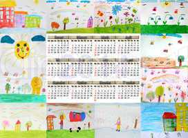 calendar for 2014 year with children's drawings