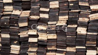 Cedar wooden shingles roof roofing colored pine tar column