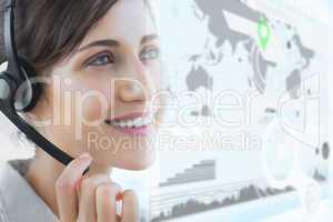 Brunette call centre agent smiling