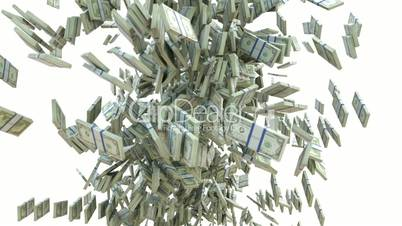 Money: dollar cash slow motion scattering on white. Alpha matte