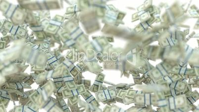 Wealth: dollar cash vortex and scattering on white. Alpha matte