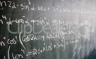 Blackboard with formulas and numbers
